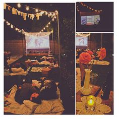 "Pajama party/Kiara's 16 backyard movie night. Must do the crates for ""tables""!!!"