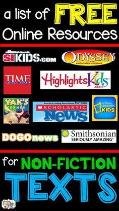 One Stop Teacher Shop: Free Resources for Non-Fiction Texts and free center response sheets A list of FREE Nonfiction reading websites and articles for kids that are all online. Perfect for when you need online nonfiction texts. Reading Websites For Kids, Reading Resources, Reading Strategies, Teaching Reading, Teacher Resources, Reading Comprehension, Teacher Websites, Kids Reading, Guided Reading