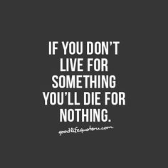 If you don't live for something you'll die for nothing.