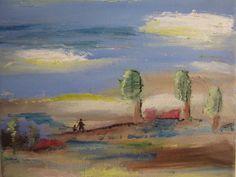 Winter landscape oil painting 8x8 inchmodern art. by cheerlart