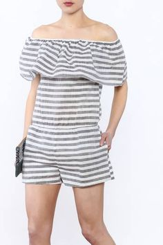 271933e98ab84f Off Shoulder Romper, Off The Shoulder, Trendy Fashion, Trendy Style, Grey  Stripes
