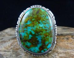 Sz 9 Vintage Navajo Sterling Silver Ring w High Grade Kingman Turquoise! Stunning Stone! Just Plain Fabulous Ring by Scott Skeets! - Edit Listing - Etsy