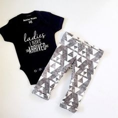 Ladies I Have Arrived! What else can I say… this outfit is just so darn cute!  This onesie paired with the grey leggings is the perfect take-home outfit to show some personality.  Search our other graphic onesies like Baby Bear, Worth the Wait, or Wild One to find something to fit your unique style.
