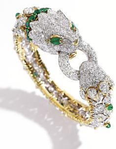 18 Karat Gold, Platinum, Diamond and Emerald Bracelet, David Webb