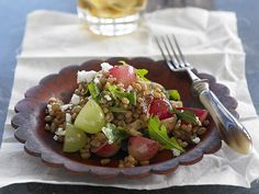 Wheat Berry Salad with Caramelized Onions and Grapes - Wheat's whole, unprocessed kernels, wheat berries, serve as the base for this fresh salad.