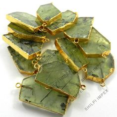 5Pc! Wholesale Lot Natural Prehnite Brass Gold Electroplated Connectors Charms #Shining_Gems #Connectors #Jewelry #gemstone