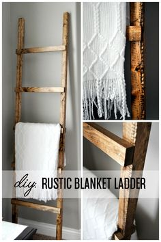 craft ideas for bathroom diy rustic blanket ladder wwwlittleglassjarcom diy rustic blanket ladder wwwlittleglassjarcom Rustic Blanket Ladder, Rustic Blankets, Rustic Ladder, Diy Ladder, Wood Ladder, Ladder Decor, House Ladder, Ladder For Blankets, Rustic Wood