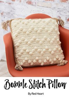 Bobble Stitch Pillow free crochet pattern in With Love yarn. : Bobble Stitch Pillow free crochet pattern in With Love yarn. Bobble Crochet, Chunky Crochet, Tunisian Crochet, Crochet Stitches, Free Crochet, Crochet Granny, Crochet Cushion Cover, Crochet Cushions, Sewing Pillows