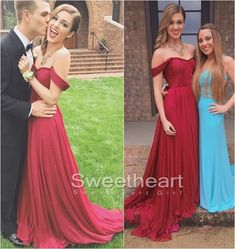 A-line Red Sweetheart Chiffon Long Prom Dresses, Formal Dress