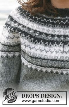 Cold Steel / DROPS - Free knitting patterns by DROPS Design, Free knitting instructions. Jumper Knitting Pattern, Fair Isle Knitting Patterns, Fair Isle Pattern, Jacket Pattern, Knitting Stitches, Knit Patterns, Free Knitting, Drops Design, Norwegian Knitting
