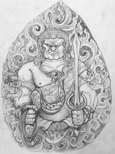 Fudo Myoo Traditional Japanese Tattoo Designs, Traditional Tattoo, Fu Dog, Japanese Dragon Tattoos, Asian Tattoos, Samurai Tattoo, Thai Art, Buddhist Art, Future Tattoos