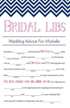 You can never go wrong with a game of Mad Libs ($12). This version is about bridal advice for the couple and will be a fun keepsake for the bride to look back on.