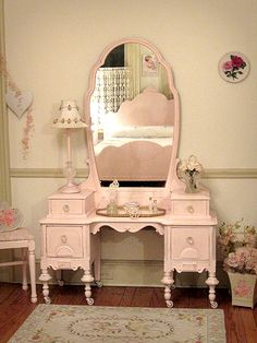 Beautiful Antique Pink Vanity with Bench. Not a big pink fan; but love the vanity :) I can't believe I gave away a vintage on when my girls were born :( Needed room for babies stuff :)