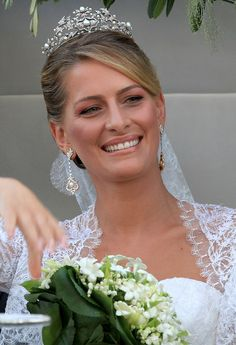 Miss Tatiana Blatnik arrives at the Cathedral of Ayios Nikolaos (St. Nicholas) for her wedding to Prince Nikolaos of Greece on August 25, 2010 in Spetses, Greece. Representatives from Europe's Royal Families travelled to the island to attend the wedding of Prince Nikolaos of Greece, the second son of King Constantine of Greece and Queen Anne-Marie of Greece. Miss Blatnik was an events planner for Diane Von Furstenburg in London.