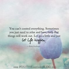 You can't control everything. Sometimes you just need to relax and have faith that things will work out. Let go a little and just let life happen. —Kody Keplinger