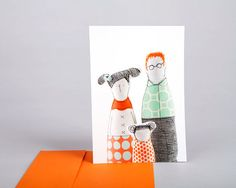 family dolls postcard    vivid photo of fabric by TIMOHANDMADE