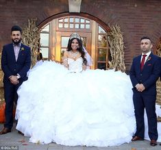 A dress weighing 110lbs, made from 500ft of tubing, 1,200ft of fabric, and at least 50,000 hand-sewn crystals, has made history on My Big Fat American Gypsy Wedding.   It took the help of Ms Celli's entire staff (19 people) and over three weeks of hard work to complete the dress, which has a retail value of $40,000. 'It fills up my office,' she told The Boston Herald. 'And it is so heavy, I had [Tatiana] practicing with weights so she would be able to hold it up.'