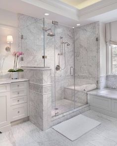 Bathroom a few ideas, bathroom remodel, master bathroom decor and master bathroom organization! Bathrooms could be beautiful too! From claw-foot tubs to shiny fixtures, these are the bathroom that inspire me probably the most. Master Bathroom Shower, Basement Bathroom, Small Bathroom, Bathroom Ideas, Bathroom Organization, Bathroom Showers, Minimal Bathroom, Master Bathrooms, Marble Showers