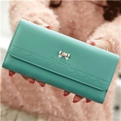 Ericdress Ladylike Bowknot Decorated Embossing Pure Color Wallet