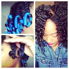 Meechy Monroe's Twist & Curl. It's super easy to do. I two strand twisted my hair with Cantu's Leave In and pure Shea butter. I placed a flexi rod at the end of each twist creating a spiral. Allow to fully set and completely dry then separate/fluff.