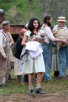 She looks happy on set. In Dubious Battle.