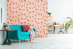 The Gogyi Bird is the ultimate symbol of cleverness. Let brightness into your living room with our pink, floral patterned wallpaper. Paste this unique artwork easily to your wall as a feature wallpaper or cover the whole room with birds and leaves. We sell online  in rolls! Check for more details!