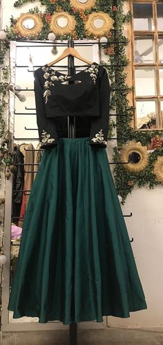 Items similar to Black and dark green embroidered skirt top, cocktail black embroidered silk blouse with emerald green skirt indo western bridesmaid Indian on Etsy Black Lehenga, Green Lehenga, Lehenga Skirt, Lehenga Choli, Lehenga Blouse, Sarees, Western Dresses, Indian Dresses, Indian Outfits