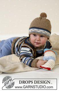 BabyDROPS 13-12 - DROPS tröja, byxa och mössa med garnbollar i Alpaca, gosedjur. - Free pattern by DROPS Design
