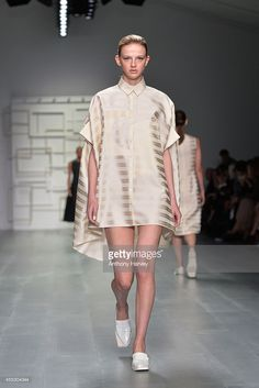 A model walks the runway at the J. JS Lee show during London Fashion Week Spring Summer 2015 at Somerset House on September 12, 2014 in London, England.