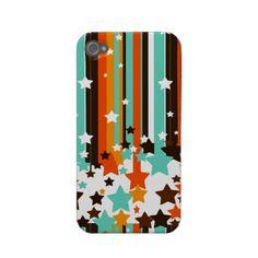 Aqua, Red, Orange & Brown Stars and Stripes iPhone Case