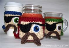 Such a cute cup cozy set made in Vanna's Choice yarn from Yarnovations!