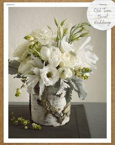 Gray, white, green | flowers for winter wedding
