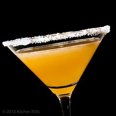 Sidecar. Lemon juice, Cointreau, cognac or brandy. Sugar for coating the rim. Garnish with lemon twist or orange slice.