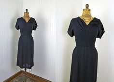 1950s Dress  Vintage 40s 50s Dress  Navy Crepe by jumblelaya, $148.00