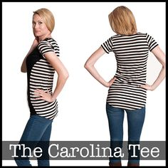 Shwin Designs Carolina Tee Sewing Pattern - A bombshell silhouette with a relaxed tee shirt feel. This tee shirt is anything but ordinary, the curvy side seam creates the illusion of an hourglass figure and is as comfortable as your favorite tee. Be fancy without even trying!  ::  $12.00