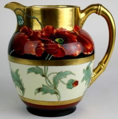 Antique-Art-Nouveau-PICKARD-Limoges-POPPY-Flower-H-P-Porcelain-Water-Pitcher-BMD