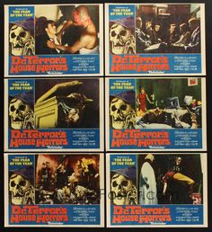 Peter Cushing and Christopher Lee star in the 1965 B movie, Dr. Terror's House of Horrors.  Five strangers board a train and are joined by a mysterious fortune teller who offers to read their Tarot cards. Five separate stories unfold: An architect returns to his ancestoral home to find a werewolf out for revenge; a doctor discovers his new wife is a vampire; a huge plant takes over a house; a musician gets involved with voodoo; an art critic is pursued by a disembodied hand.