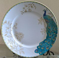 Peacock Garden Dinner Plates. Beautiful. Set Of 4. 222 Fifth. Porcelain. New