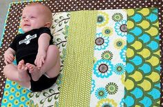 Tummy time quilts...great baby gift to make.  6 quilts out of 5 half yards of fabric! angie_lindley
