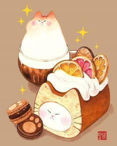 Cute Food Drawings, Cute Kawaii Drawings, Cute Animal Drawings, Dessert Illustration, Kawaii Illustration, Arte Do Kawaii, Kawaii Art, Arte Copic, Cute Food Art
