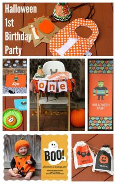A Halloween First Birthday Party: Invites, Decor and Party Planning . We threw an adorable Halloween first birthday party! Here are ideas for invites, decor, Halloween 1st Birthdays, Halloween First Birthday, Halloween School Treats, Halloween Favors, Halloween Party Supplies, Baby First Birthday, Boy Birthday Parties, Halloween Themes, First Birthdays