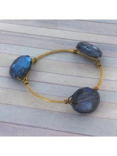 Handcrafted Montana Blue Crystal and Goldtone Wire Bangle #wiredbangle #baubles #designerinspired #baublesandbangles #wiredbracelet