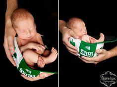 Newborn in baseball cap. Melanie Isaac Photography