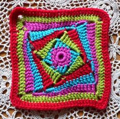 """ On the Huh Crochet Square"".  (crochet pattern), scroll to the bottom of post link to author."
