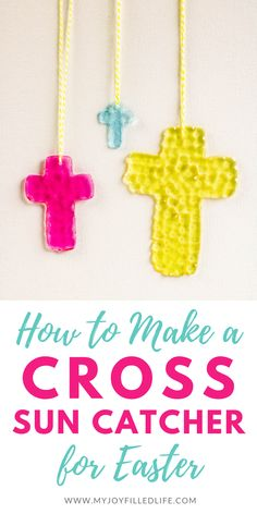 Fun Arts And Crafts, Fun Crafts, Crafts For Kids, Summer Crafts, Holiday Crafts, Cross Crafts, Easter Cross, Pony Beads, Sun Catcher
