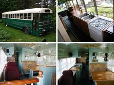This is an amazing conversion to living quarters on an old bus.  It looks quite comfortable.
