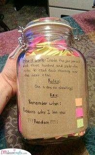 A Jar Of Notes Lovely And Personal Gift Ideas Diy Gifts For Boyfriend Boyfriend Gifts Gifts For Friends