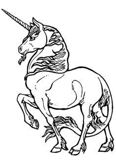 Coloriage du dessin représentant une belle licorne