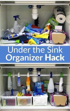 Easiest Under the Sink Organizer Hack - If you have a mess under your kitchen sink cabinet, there's no need to fret! I have a super easy and cheap solution, and all it takes is 15 minutes, a tension rod and some plastic baskets. Bonus: it only costs $10 so say goodbye to that mess!