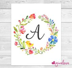 Floral Watercolor Monogram Watercolor Letter by igivelove